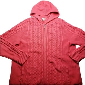LL Bean Women's Pink Hooded Full Zip Cotton Cable Knit Cardigan Sweater Size 1X